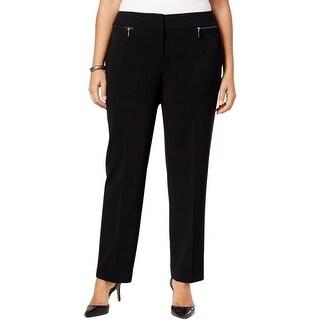 Nine West Womens Plus Trouser Pants Solid Zip Pocket