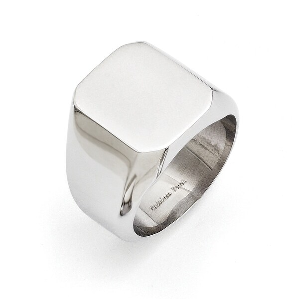 Chisel Stainless Steel Polished Square Signet Ring (17 mm)