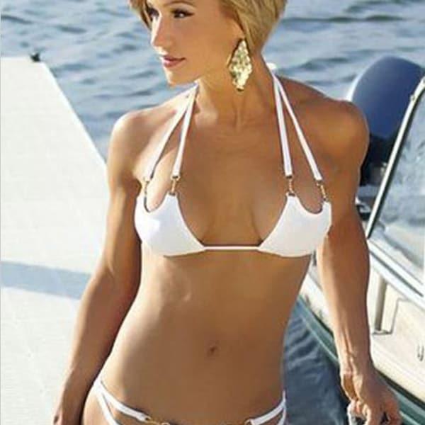 61526b6baf6c9 Shop Sexy White Bikini Fashion Summer Bandage Bikinis Set Women High Cut  Swimsuit Brazilian Sexi Triangle Swimwear - Free Shipping On Orders Over   45 ...