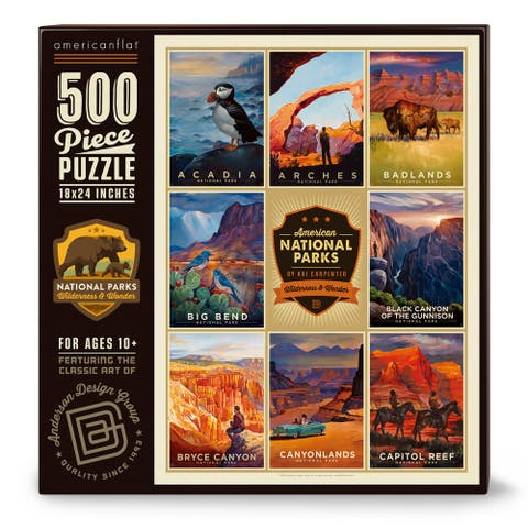 Americanflat 500 Piece Jigsaw Puzzle, 18x24 Inches, American National Parks 1 Art by Anderson Design Group - 18 x 24