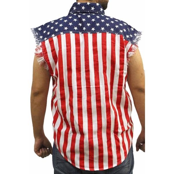 USA Flag Men/'s Sleeveless Denim Shirt Stars /& Stripes Red White Blue Biker