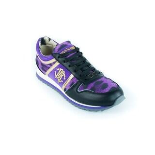 Roberto Cavalli Womens Purple Leopard Logo Sneakers