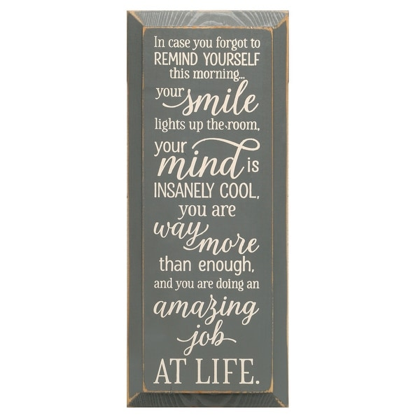 """Inspirational Plaque Wall Sign, In Case You Forgot Daily Affirmation, 18"""" x 7"""" - Gray. Opens flyout."""