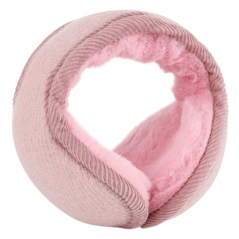 Warm Foldable Winter Knit Earmuffs for Women Men Pink