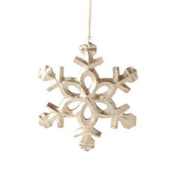 """5"""" Country Cabin Antique-Style Speckled Silver Tin Snowflake Christmas Ornament"""
