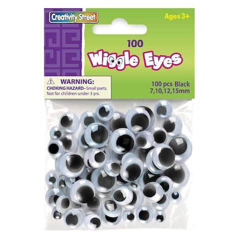 Creativity street wiggle eyes asst size black 100/pk 344602