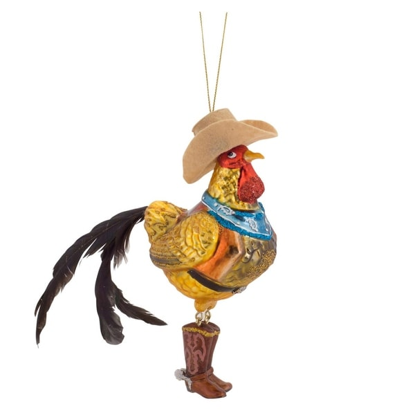 """Pack of 6 Country Chic Cowboy Rooster Glass Christmas Ornament 7.25"""" - brown"""