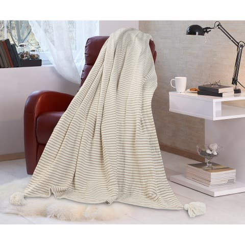 Gray and Ivory Striped Tasseled Throw Blanket