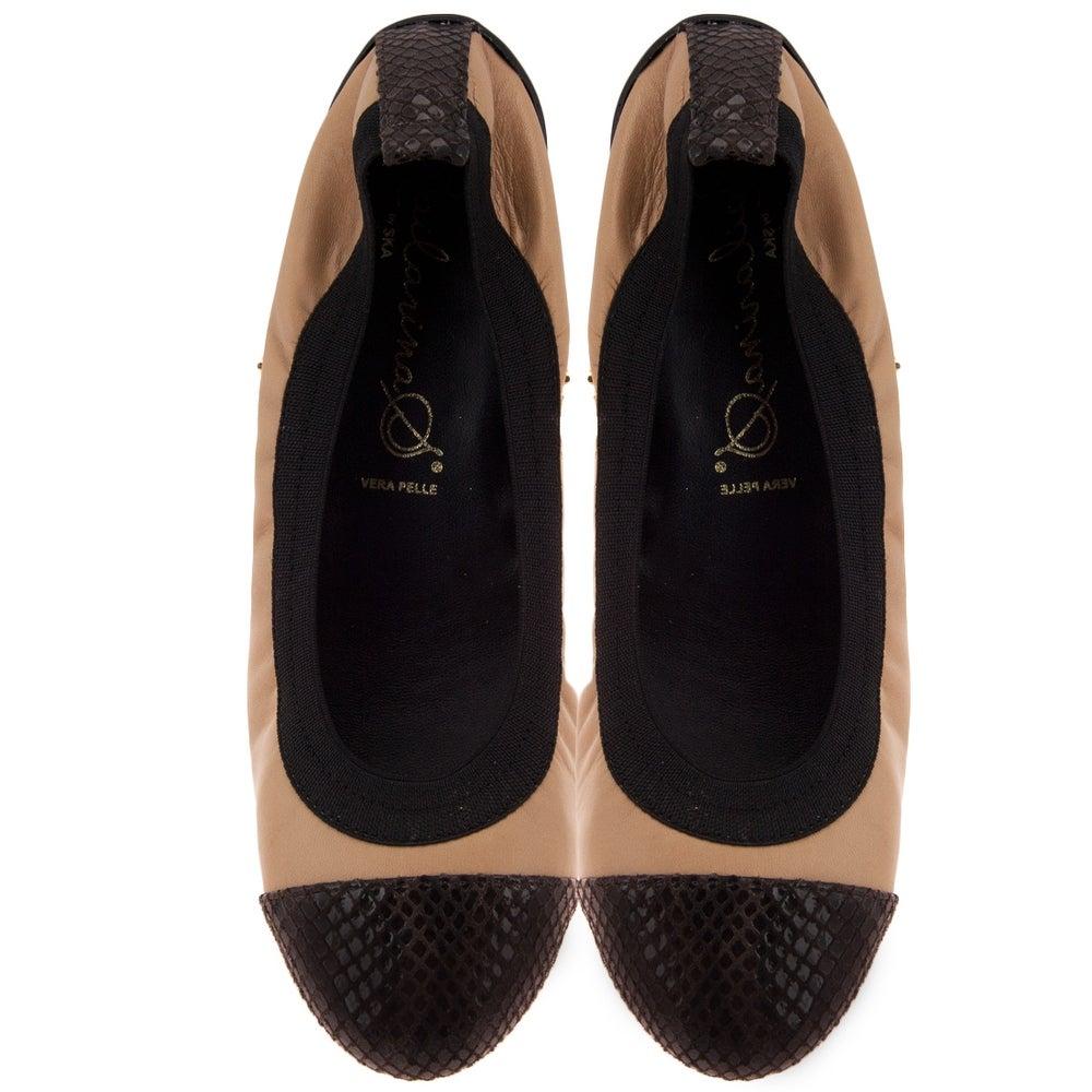 Bailarinas Golia AZU Navy Blue Snake Toe Ballerina Flats for Womens