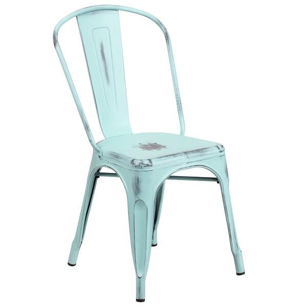 Distressed Metal Indoor-Outdoor Stackable Chair - Kitchen Furniture. Opens flyout.