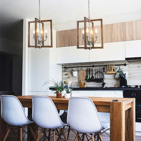 "Modern Farmhouse 4-lights Faux Wood Pendant Lighting Fixture for Kitchen Island,Dining Room - W16.5""xH20"""