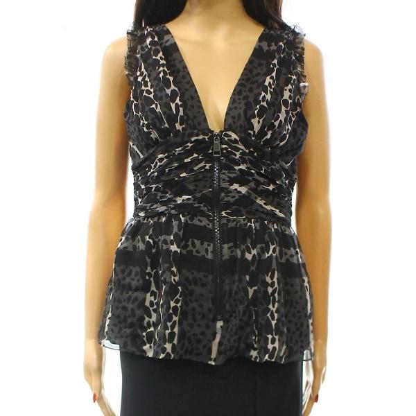 2a6549dcfbf17 Burberry London NEW Gray Animal Printed Women  x27 s Size 6 Blouse Silk
