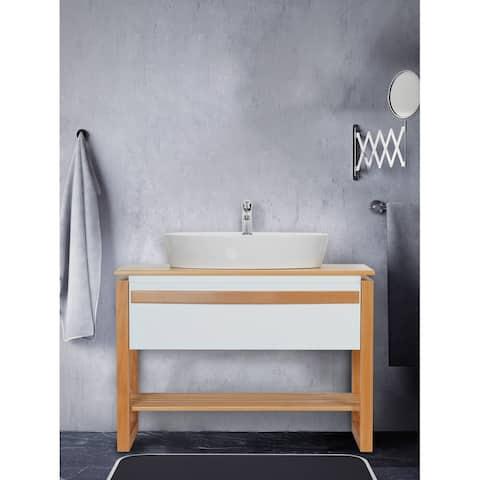 Giallo Rosso Bali 40 Inch Modern Freestanding Bathroom Vanity with Vessel Sink - No Mirror (White Oak)