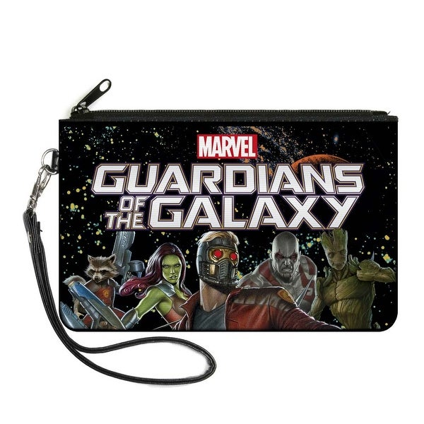 Guardians Of The Galaxy 5 Character Group Galaxy Black Blue Orange Greens Canvas Zipper Wallet