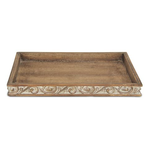 """Distressed Finish Wood Tray with Side Carvings - 16"""" x 10.5"""""""