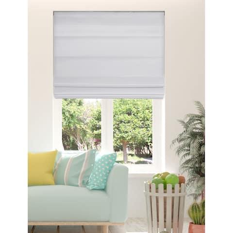 Arlo Blinds White Light Filtering Cordless Fabric Roman Shades