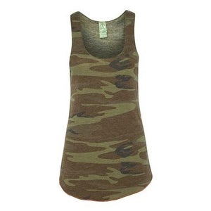 Women's Printed Meegs Eco-Jersey Racer Tank - Camo/ Eco True Military - L