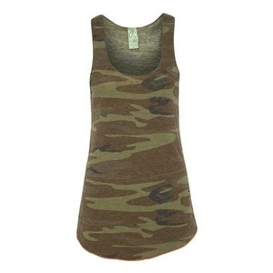 Women's Printed Meegs Eco-Jersey Racer Tank - Camo/ Eco True Military - M