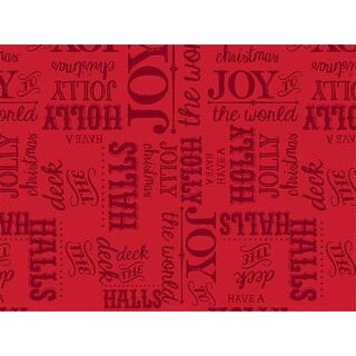 """Pack Of 120, Holly Berry Tidings Recycled Christmas Printed Tissue Paper 20"""" x 30"""" Sheets Half Ream"""