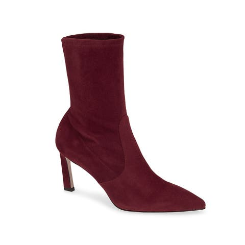 Stuart Weitzman Womens Leather Rapture 75 Boot Cabernet Red