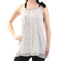 CYNTHIA ROWLEY Womens White Floral Sleeveless Scoop Neck Top  Size: S