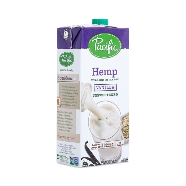 Pacific Natural Foods Hemp Vanilla - Non Dairy - Case of 12 - 32 Fl oz.