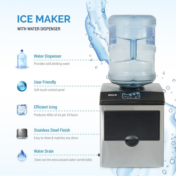 Della Stainless Steel Water Dispenser w BuiltIn Ice Maker Machine