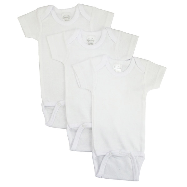 Bambini White Short Sleeve One Piece 3 Pack - Size - Small - Unisex