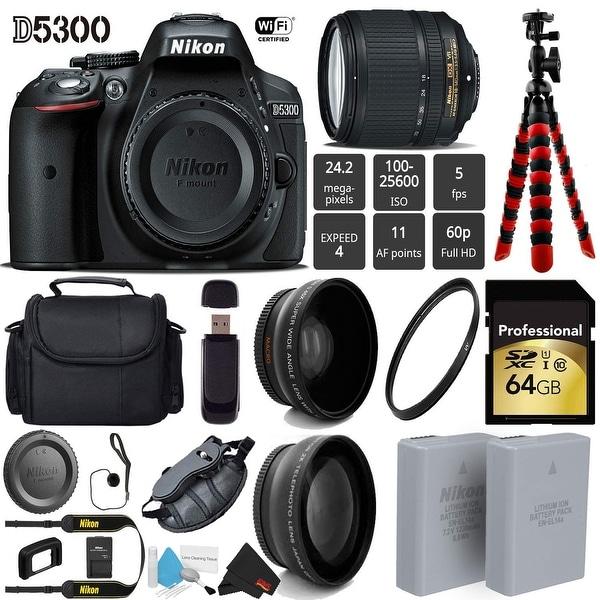 Shop Nikon D5300 DSLR Wi-FI GPS 24 2MP DX CMOS Camera with