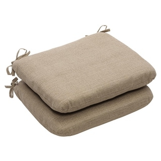 Pack of 2 Eco-Friendly Textured Taupe Rounded Outdoor Seat Cushions 18.5""