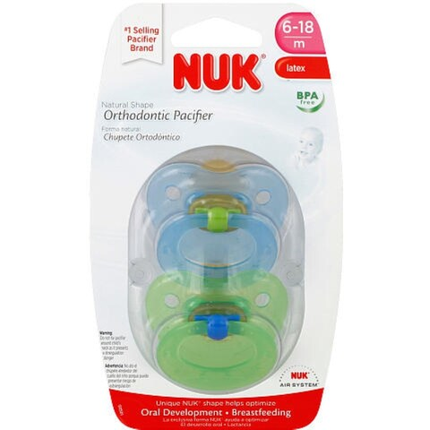 NUK Natural Shape Orthodontic Pacifiers, Latex, 6-18 Months 2 ea