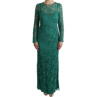 Dolce & Gabbana Green Floral Ricamo Sheath Long Dress - it42-m