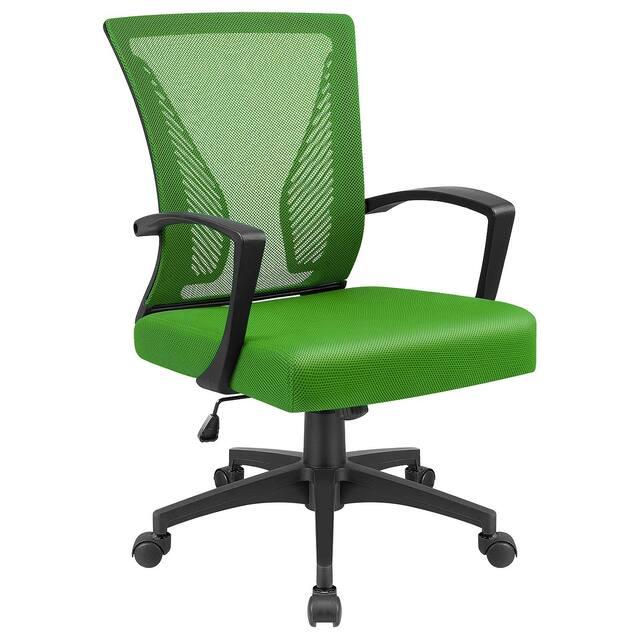 Office Chair Mid Back Swivel Lumbar Support Desk Chair, Computer Ergonomic Mesh Chair with Armrest - Green
