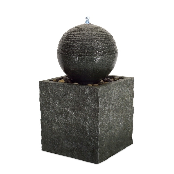 "25"" Black Chiseled Stone Design Orb Fountain with LED Light on Top - N/A"