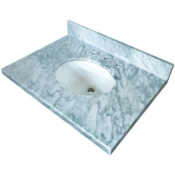 """Kingston Brass KVPB3622M38 Fauceture 36"""" Marble Vanity Top with 4"""" Backsplash and Integrated Sink with Rear Drain"""