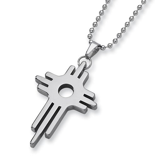 Chisel Tungsten Carbide Cross (2.0in) on 22 Inch Steel Bead Chain (2 mm) - 22 in