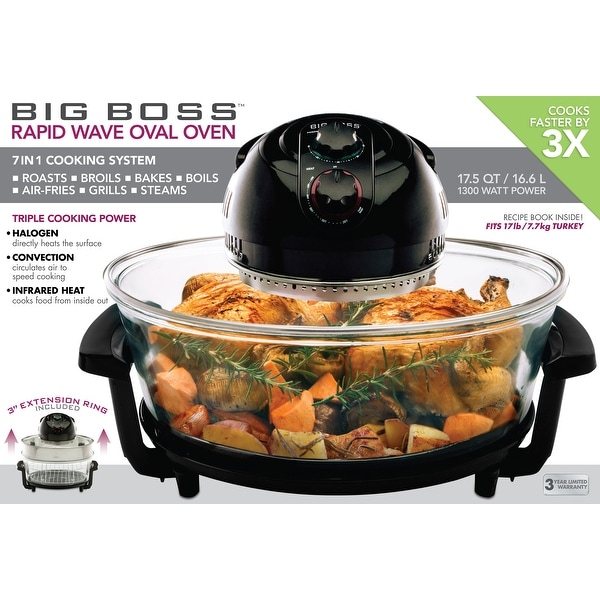 Big Boss Oval Rapid Wave 17.5-Quart 1300 Watt Hi-Speed infrared convection Oven, and Turkey Roaster
