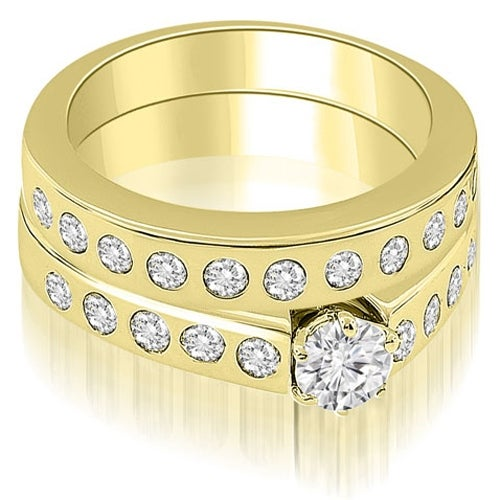 1.55 cttw. 14K Yellow Gold Round Cut Diamond Bridal Set