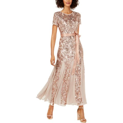 R&M Richards Womens Petites Evening Dress Sequined Illusion - Champagne - 8P