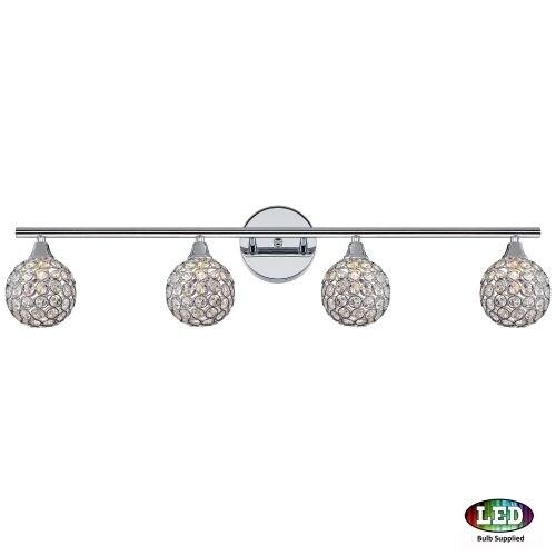 "Platinum PCSR8604LED Shimmer 4 Light 32"" Wide Bathroom Vanity Light with Crystal Globe Shades"