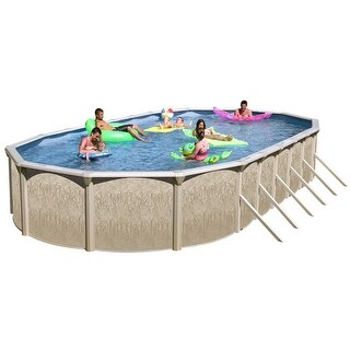 Galveston Oval Above Ground Swimming Pool Package 33 ft. x 18 ft. x 52 in.