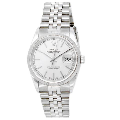 Pre-owned 36mm Stainless Steel Silver Dial Datejust Watch - 7 inches
