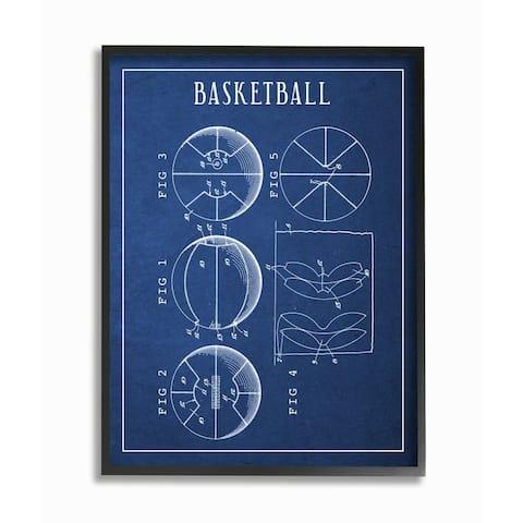 Stupell Industries Basketball Blueprint Vintage Sports Design Framed Wall Art