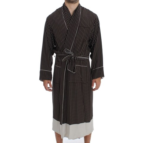 Dolce & Gabbana Dolce & Gabbana Brown Silver SILK Robe Sleepwear Nightgown