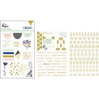 "Indigo Hills Foiled Stickers 4""X6"" 3/Pkg-Foiled Words & Icons"