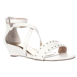 TS35 Pia Ankle Strap Wedge Sandals - White Snake