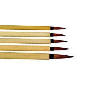 Stanislaus Assorted Fine Watercolor Paint Brush Set, Bamboo Handle, Set of 5