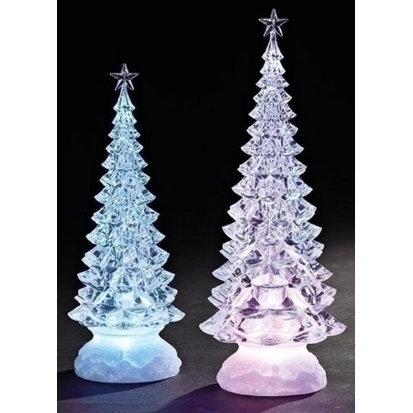 """Set of 2 LED Clear Lights Christmas Tree Tabletop Figures 13"""""""