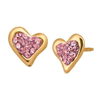 Crystaluxe Heart Stud Earrings with Swarovski elements Crystals in 14K Gold