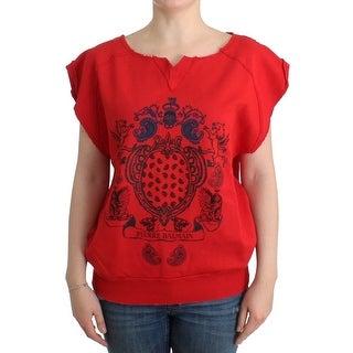 Balmain Red printed shortsleeved sweatshirt - S